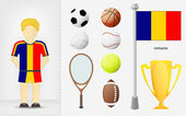 Romanian sportsman with sport equipment collection vector — ストックベクタ