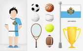 San Marino sportsman with sport equipment collection vector — Stock Vector