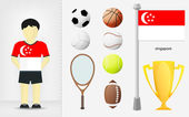 Singaporean sportsman with sport equipment collection vector — Stock Vector