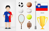 Slovenian sportsman with sport equipment collection vector — Stock Vector