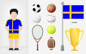 Swedish sportsman with sport equipment collection vector — Stock Vector
