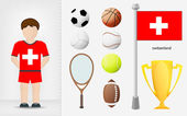 Swiss sportsman with sport equipment collection vector — Stock Vector