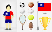 Taiwan sportsman with sport equipment collection vector — Stock Vector