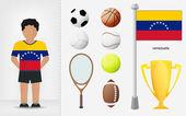Esportista venezuelana com vetor de coleção de equipamentos de esporte — Vetor de Stock