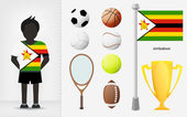 Zimbabwean sportsman with sport equipment collection vector — Stock Vector