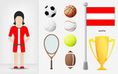 Austrian sportswoman with sport equipment collection vector — Stock Vector