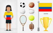 Colombian sportswoman with sport equipment collection vector — Stock Vector