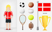 Danish sportswoman with sport equipment collection vector — Stock Vector