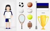 Estonian sportswoman with sport equipment collection vector — Stock Vector