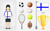 Finnish sportswoman with sport equipment collection vector — Stock Vector