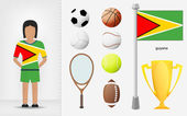 Guyanese sportswoman with sport equipment collection vector — Stock Vector