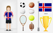 Icelandic sportswoman with sport equipment collection vector — Stock Vector