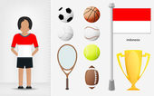 Indonesian sportswoman with sport equipment collection vector — Stock Vector