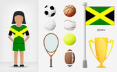 Jamaican sportswoman with sport equipment collection vector — Stock Vector