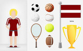 Latvian sportswoman with sport equipment collection vector — Stock Vector