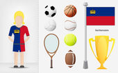 Liechtenstein sportswoman with sport equipment collection vector — Stock Vector