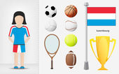 Luxembourg sportswoman with sport equipment collection vector — Stock Vector