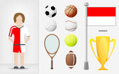 Monaco sportswoman with sport equipment collection vector — Stock Vector