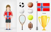 Norwegian sportswoman with sport equipment collection vector — Stock Vector