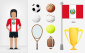 Peruvian sportswoman with sport equipment collection vector — Stock Vector