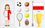 Polish sportswoman with sport equipment collection vector — Stock Vector