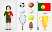 Portuguese sportswoman with sport equipment collection vector — Stock Vector