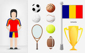 Romanian sportswoman with sport equipment collection vector — Vector de stock