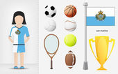 San Marino sportswoman with sport equipment collection vector — Stock Vector
