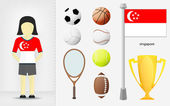 Singaporean sportswoman with sport equipment collection vector — Stock Vector