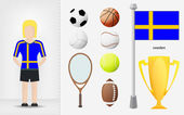 Swedish sportswoman with sport equipment collection vector — Stock Vector