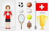 Swiss sportswoman with sport equipment collection vector — Stock Vector