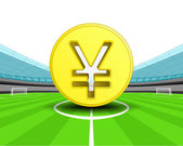 Golden Yuan coin in the midfield of football stadium — Wektor stockowy