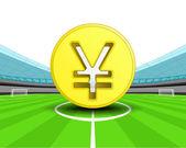 Golden Yuan coin in the midfield of football stadium — Stock Vector