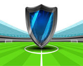 Defensive shield in the midfield of football stadium — Stockvektor