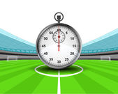 Stopwatch in the midfield of football stadium — Stock Vector