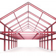 Red steel framework building front perspective view — Stock Photo #51389931