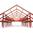Red steel framework wide building front perspective view — Stock Photo #51389933