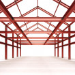 Isolated red steel framework building indoor perspective view — Stock Photo #51389949