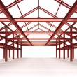 Isolated red steel framework building — Stock Photo #51389951