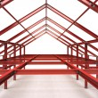 Red steel complex framework building — Stock Photo #51389979