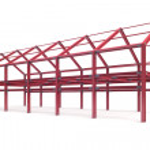 Red steel framework building — Stock Photo #51389993