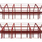 Red steel framework building side — Stock Photo #51390005