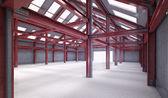 Красный стальной каркас здания — Стоковое фото