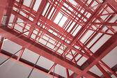 Red steel framework building — Stock Photo