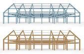 Steel and wooden beam building scheme — Stock Vector