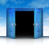 Double wooden door opened out of sky background 3D — Stock Photo
