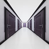 Hotel interior corridor with closed doors in 3D — Stock Photo
