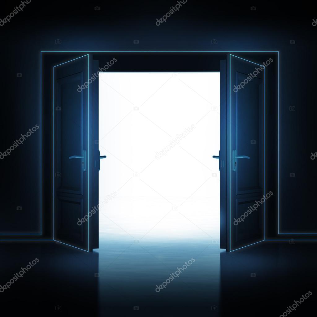 Double door opened from dark to light room 3D illustration u2014 Photo by Adikk & Double door opened from dark to light room 3D u2014 Stock Photo ... pezcame.com
