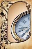 Retro clock in frame — Stock Photo