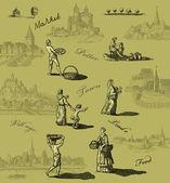 Ancienne illustration de village — Photo